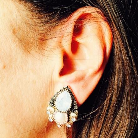 Boucles d'oreilles clip goutte perle