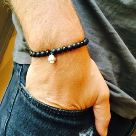 Bracelet perles tete de mort