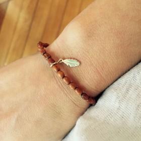 Bracelet Perles Bois Plume