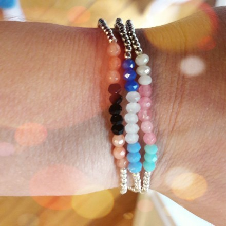 Bracelet billes élastique argent et cristal