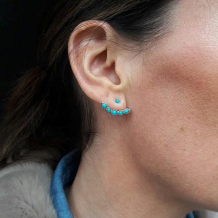 Boucles d'oreilles argent devant/derrière et turquoise
