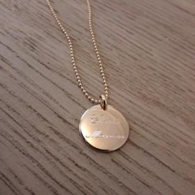Sautoir Médaille Bombée Personnalisée Chaîne Boules