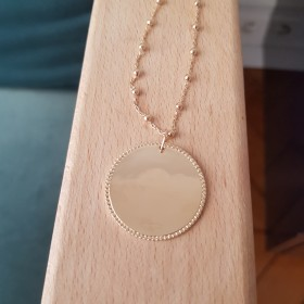 Médaille Pointillée grand Modèle chaîne mixte