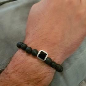 Bracelet Homme lave et onyx