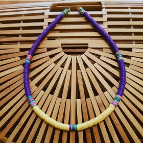 Collier African Style Purple/Yellow