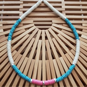 Collier argent Turquoise and Pink