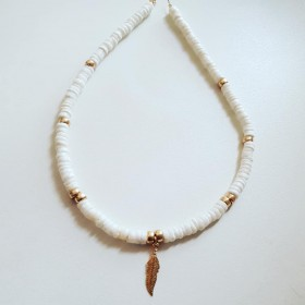 Collier Plume et coquillages