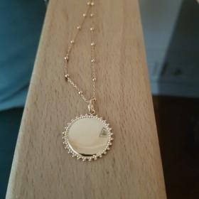 Collier médaille couronne chaîne mixte