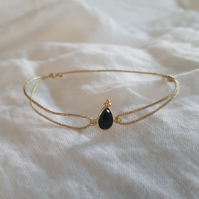 Bracelet cordon Poire noire