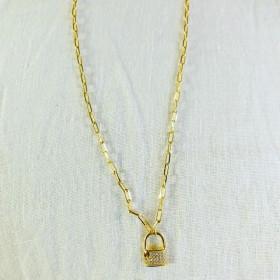 Collier petit cadenas or