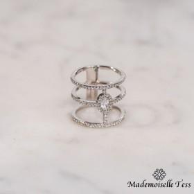 Bague triple anneau et zircons