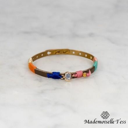 Bracelet tissu et cristal
