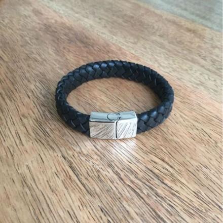 Bracelet cuir large tresse et acier