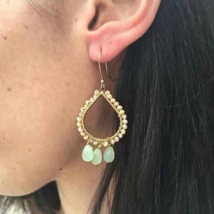 Boucles d'oreilles pampilles vert d'eau