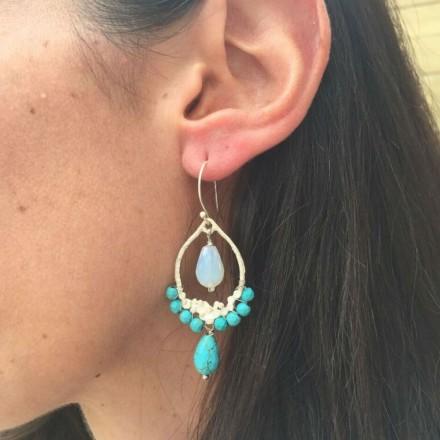 Boucles d'oreilles pampilles turquoise