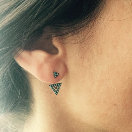 Boucles d'oreilles devant derrière triangle turquoise