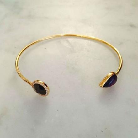 Bracelet cut doré améthyste et quartz rutile