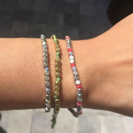 Bracelet coton et cubes métal