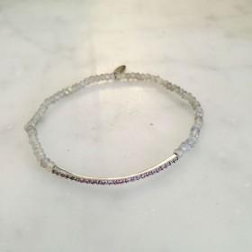 Bracelet élastique argent perles labradorites