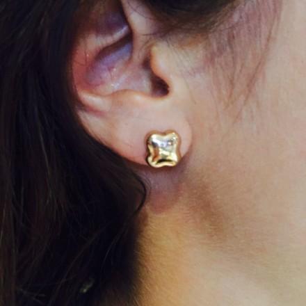 Boucle d'oreilles trèfle or rose