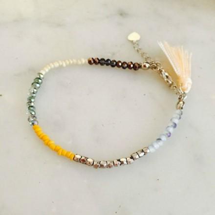 Bracelet pompon beige