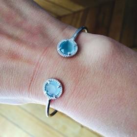 Bracelet cut Argent Cristal Bleu