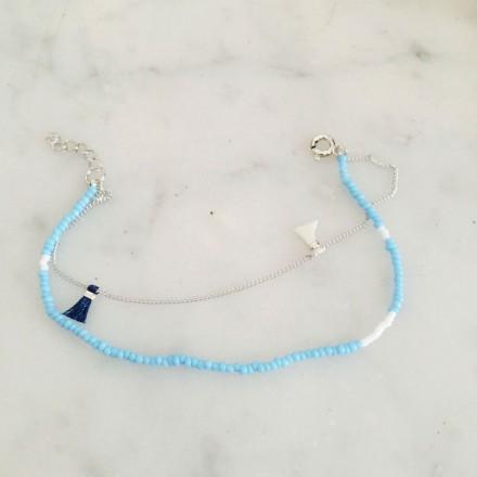 Bracelet argent pompons et turquoise