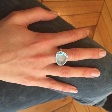 Bague Triangle Topaze bleue