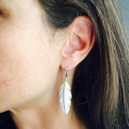 Boucles d'oreilles plume argent