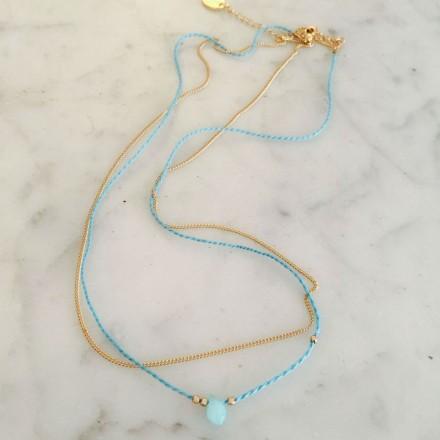 Collier perle et coton