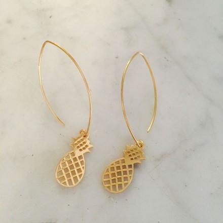Boucles d'oreilles ananas dorées
