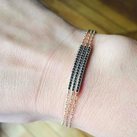 Bracelet 3 rangs or rose zircons noirs