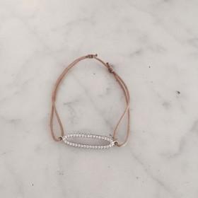 Bracelet cordon et anneau ovale